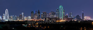 Dallas Skyline Panorama Night