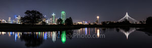 dallas, skyline, reflections, downtown, cityscape, margaret hunt hill bridge, the reunion tower, bank of america, renaissance tower, city's, high rises, buildings, reflections, reflects, waters, trini