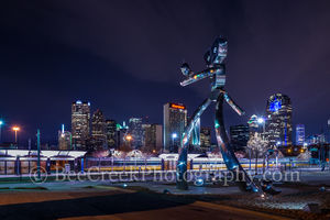 Dallas, city, cityscape, downtown, mass transit, night, polished metal, railroad, rivets, skyline, skylines, train, train station, traveling man, walking