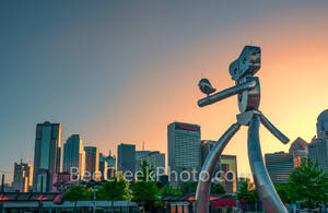 Dallas Traveling Man Sunset