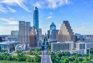 Austin Skyline Aerial,  Austin skyline,  Austonian,  over Austin, Congress ave, Frost, One Congress, One Congress Plaza, Radisson, aerial, buildings, city, cityscape, downtown, high-rise, lady bir