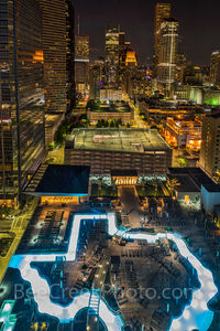 Houston, downtown, Texas shape pool, Marqui Marriott Hotel, night, cityscape, buildings,