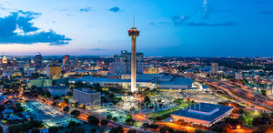 San Antonio skyline, cityscape, dusk, aerial, Tower of America,Downtown San Antonio at Twilight, Tower Life, building, Drury Hotel, Grand Hyatt, George Gonzales, convention center, historic site, city