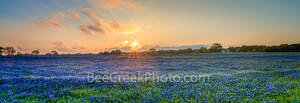 bluebonnets, blue bonnets blue wildflowers, landscapes, pano, panorama, wildflowers, wildflower, spring, field, flora, plants, wild, sunset, glow, orange, fiery sky, Texas Hill Country, rays, clouds,