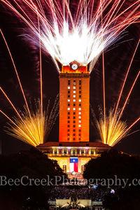 Austin, UT, Tower, orange, 17, fireworks, downtown, graduating, students, burnt orange, UT Tower, crowds,  Texas flag, graduation, main building,