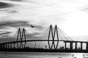 Baytown, Harris County, Houston, La Porte, black and white, bw, cable stay bridge, city, cityscape, cityscapes, landscape, landscapes, ship channel, sky, sunset, texas