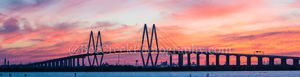 Houston, Baytown, La Porte, Texas, Fred Hartman Bridge, cityscape, cityscapes, sunset, colors, pink, orange, yellow, ship channel,landscape, landscape, architectural, architecture, bridge,