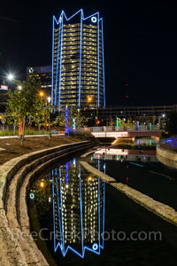San Antonio, Frost Tower, San Pedro Creek, reflections, water, boardwalk,vertical, Christmas, holiday, lights, color lights in the water,