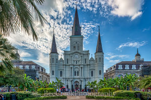 Cathedral, Jackson Square, New Orleans, Saint Louis, blue sky, cityscape, cityscapes, historic, landmark, landscape, french quarter, louisianna, st. louis catherdral, park, artist, landscapes, morning