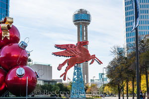 Dallas, Magnolia Hotel, Magnolia Oil company., Pegasus, cityscape, cityscapes, flying horse, neon, oil derrick, ornaments, red, reunion tower