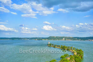 horseshoe bay lighthouse view, lake lbj, wirtz dam, texas hill country, texas lakes, lighthouse, peninsula, horseshoe bay resort, fishing, boating, recreational swimming, hill country, aerial, drone,