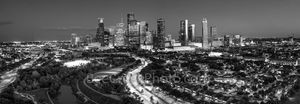 Houston, Skyline, Aerial, pano, panorama, black and white, bw, buffalo bayou, Eleanor Tinsley Park, Memorial Park, Allen Parkway, downtown, hike and bike, Jamail Skate Park, cityscape, southern US,