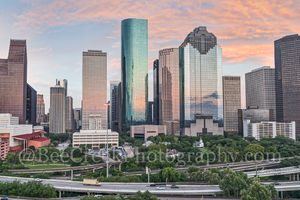 Houston, sunset, skyline, cityscape, clouds, city, high rise, skyscrapers, aerial, camera, image, downtown, art district, drone,