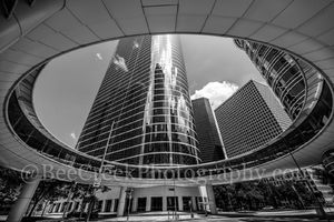 Houston, architecture, architectural, Chevron, skyscraper, black and white, bw, skybridge, cityscape, downtown, 1400 smith st, buildings, skywalk, towers, high rise, modern, city,