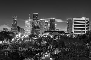 Houston, bayou, buffalo, downtown, night, black and white, bw, city, skyline, reflection, water, city,