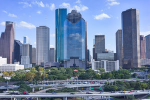 Houston, skyline, Houston cityscape, day, blue sky, daytime, aerial, cityscape, clouds, city, downtown, skyscrapers, buildings, high rise, IH45, museum district, art, culture, music, population, drone