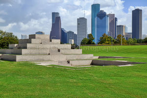 Houston, Police Memorial, Skyline, Houston skyline, monument,