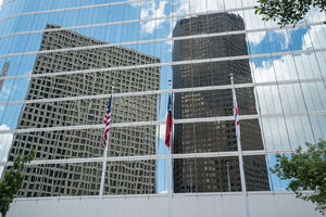 Houston, Chevron Complex, high rise, downtown, cityscape, reflected, mirrored glass, building, clouds, sky,