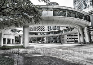 Houston, Chevron Complex, building, skybridge, skywalk, street scene, downtown, black and white, high rise, smith street, pedestrian walkway,