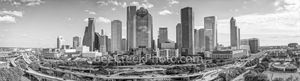 Houston, skyline, Houston skyline, black and white, BW, daytime, aerial, panorama, pano, cityscape, clouds, city, downtown, skyscrapers, buildings, high rise, IH45, museum district, art, culture, musi