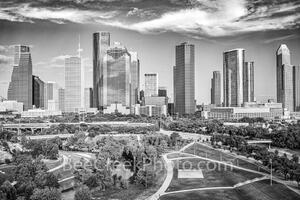 Houston Skyline Aerial View BW