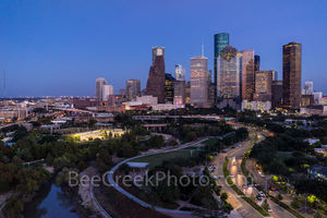 Houston Skyline Along Allen Parkway