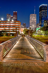 Houston, bagby to sabine, promenade, bridge, downtown, skyline, twilight, blue hour, dusk, pedestrian bridges, america, cityscapes, buffalo bayou, water, reflections, houston stock,