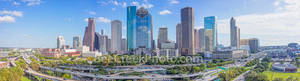 Houston, skyline, Houston skyline, day, blue sky, daytime, aerial, panorama, pano,  cityscape, clouds,  city, downtown, skyscrapers, buildings, high rise, IH45, museum district, art, Houston stock,