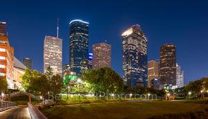 Houston, bagby to sabine, promenade, bridge, downtown, skyline, twilight, blue hour, dusk, pedestrian bridges, america, cityscapes, buffalo bayou, water, reflections, stock bridge photos, stock bridge