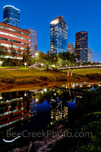 Houston, bagby to sabine, promenade, bridge, downtown, skyline, twilight, blue hour, dusk, pedestrian bridges, america, cityscapes, buffalo bayou, water, reflections, stock bridge phot