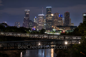 Houston skyline, Rosemont, pedestrian bridge, buffalo Bayou, downtown,night, city, parks, Houston stock, images of houston,
