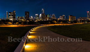 Austin, Skyline, night, downtown, cityscape, path, lights, walkway, high rise, skycrapers, Lady Bird Lake, Frost, Austonian, pano, panorama, Independence, modern, urban,Long Center, events, images fro