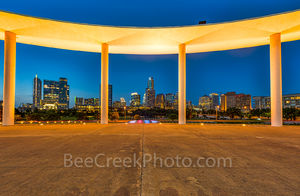 Austin, Long Center, skyline, night, Lady Bird Lake, performing arts, downtown, pillars, cityscape, ballet, opera, music, architecture, architectural, Joe and Teresa Lozano Long, events, tourist, thea