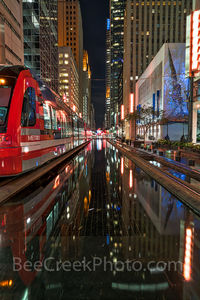 Houston, rail, mass transit, dark, night, purple lights, city, skyline, downtown, cityscape, cityscapes, street scene, high rise, buildings, water, Houston stock,
