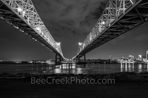 New Orleans, mississippi, river bridges, black and white, bw, Cresent bridge connections, double bridges, night, reflections, cityscape, cityscapes, urban, lights, water, dark,