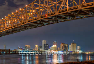 New Orleans, skyline, cityscapes, double bridges, lights, mississippi, night, reflections, river bridges, urban, water, shoreline, city, downtown, , New Orleans cityscapes