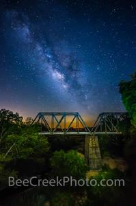 Night Sky Over Railroad Bridge