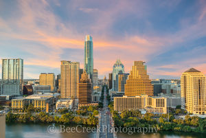 Austin, Congress, Texas, over austin, congress bridge, Lady bird lake, sunset, dusk, high rise, glow, downtown, urban, skyline, cityscape, capital, capitol, aerial, drone, phototgraphy, bee creek phot