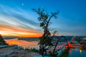 Sunrise at Austin 360 Bridge,sunrise, 360 bridge, Pennybacker bridge, Austin Pennybacker Bridge, Austin, Lake Austin,  sunrise glow, orange, landmark, tourist, photo, visitors, scenic, Texas Hill coun