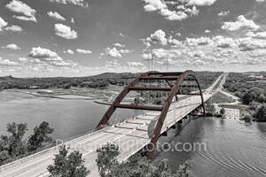 Pennybacker Bridge BW with Pop of Red 2