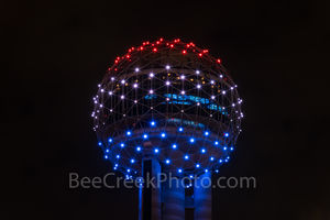 Reunion TowerBall, Dallas, red, white, blue, close up, observation, downtown, dallas stock photos,