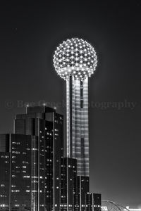 Reunion Tower Night BW