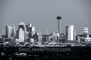 San Antonio skyline, downtown, city, Frost tower, cityscape, black and white, b w, san antonio, high rise, san antonio texas, city of san antonio,