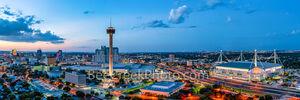 san antonio skyline, twilight, magic hour, blue hour, dusk, downtown san antonio, city of san antonio, san antonio texas, san antonio, skyline, texas, aerial, tower of americas, tower life, alamodome,