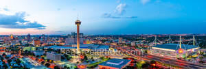 San Antonio Skyline at Twilight, San Antonio, skyline, dusk, twilight, aerial, Tower of America, Tower Life, Alamodome, building, Drury Hotel, Grand Hyatt, George B. Gonzales, convention center, histo