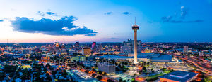 San Antonio Skyline at Twilight, San Antonio skyline, dusk, twilight,  San Antonio Skyline pictures, aerial, Tower of America, Tower Life, Alamodome, building, Drury Hotel, Grand Hyatt, George B. Gonz