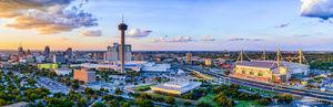 San Antonio skyline, dusk, aerial, Tower of America, Tower Life, building, Drury, Grand Hyatt, Frost Bank, Henry B Gonzales, convention center, historic, city, landmark, pano, panorama,