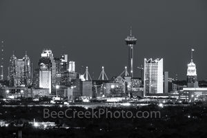 San Antonio Skyline, black and white, BW, San Antonio, Skyline, Frost Tower, Tower of America, Life Tower, Marriott, BBVA Compass Bank, city,