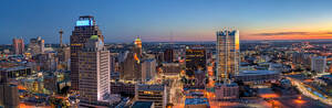 San Antonio skyline sunset, San Antonio skyline, San Antonio, San Antonio images, San Antonio pictures, San Antonio Cityscape, texas, downtown, Frost Tower, Tower of Americas, Frost, Tower Life, build