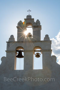 San Antonio, San Juan Mission, bells tower, vertical, tall, sun rays, sparkle, Missions, San Juan Mission Bell Tower, tourist, close up, Texas missions, landmarks, churches, chruch, catholic, prints,